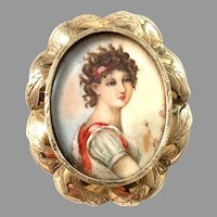Paris, France late 1800s Victorian 14k Gold Miniature Painting Brooch Pendant.