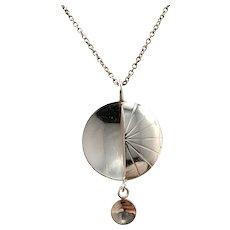 Edvard Kinni Finland 1960s Modernist Silver Pendant Necklace.