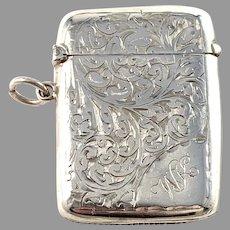 S & A Birmingham 1904 Edwardian Sterling Silver Vesta Case.