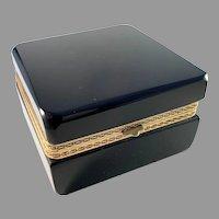 Elli Ferro, Murano, Italy Mid Century Large Massive Black Opaline Bronze Jewelry Casket Box.