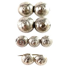 G Dahlgren, Sweden Victorian mid 1800s Solid Silver Set of Traditional Scandinavian Button Brooches.
