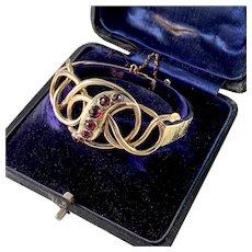 Stockholm, Victorian 18k Gold Garnet Bracelet. Boxed.