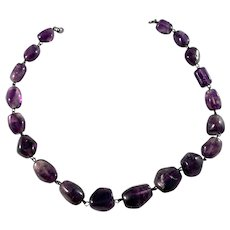 Austria/Germany Early-Mid 1900s, 835 Silver Amethyst Necklace.