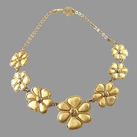 Kenzo, France. Vintage Huge Floral Costume Jewelry Necklace.