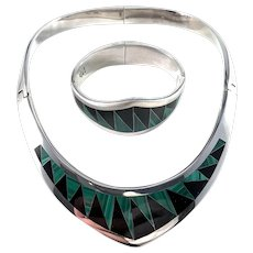 Taxco, Mexico Vintage Massive 9.3oz Sterling Silver Onyx Malachite Inlay Set.