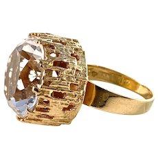 Bengt Hallberg, Sweden 1971 Vintage Modernist 18k Gold Rock Crystal Ring.