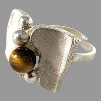 Vintage Modernist Sterling Silver Tiger-Eye Ring.