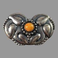 Denmark 1910s Antique Art Nouveau Skonvirke 830 Silver Amber Brooch.