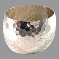 """K Andersson, Sweden 1916 Chunky Arts and Crafts Sterling Silver Napkin Ring. """"Father"""""""
