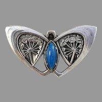 Bernhard Hertz, Denmark. Art Nouveau 830 Silver Butterfly Floral Brooch.