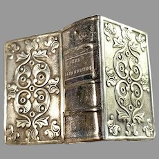 Germany Victorian Solid Silver Novelty Book Shaped Vinaigrette Box.