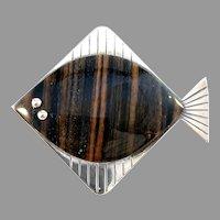 Stenlya, Sweden 1966 Rare Chunky Sterling Silver Fish Brooch.