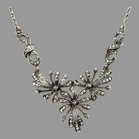 Germany / Austria 1930-40s Solid 835 Silver Marcasite Necklace.