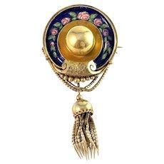 Victorian 18k Gold Enamel Tassel Locket Brooch Pendant.