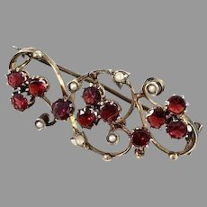 Czechoslovakia, Antique early 1900s Solid Silver Bohemian Garnet Seed Pearl Brooch.
