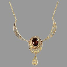 G Dahlgren, Sweden 1912 Antique 18k Gold Citrine Seed Pearl Filigree Necklace.