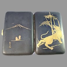 Japan Meiji 1868-1912 Enamel Metal Cigarette Case. Signed.