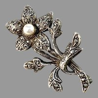 Germany / Austria 1930-40s Solid 835 Silver Marcasite Cultured Pearl Brooch. Maker's Mark
