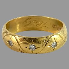 Markström, Sweden 1920 Antique 23k Gold Diamond Gypsy Ring.