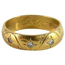Markström, Sweden 1920 Antique 23k Gold Diamond Gypsy Ring.