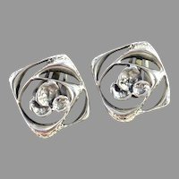 Karl Laine for Finnfeelings Finland Vintage Large Sterling Silver Clip-on Earrings.