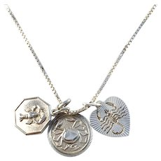 Vintage Solid Silver Cancer Zodiac Pendant Necklace.