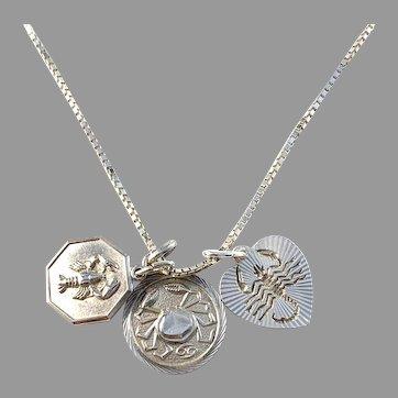 Vintage Solid Silver Cancer Zodiac Pendant Necklace.