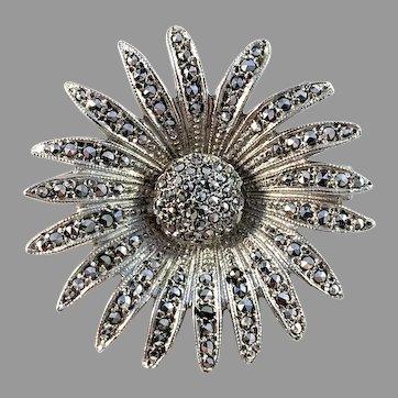 Mid Century Vintage Solid 835 Silver Marcasite Flower Brooch.