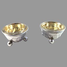 Gustaf Möllenborg, Stockholm 1886 Antique Victorian 830 Silver Salt Cellars