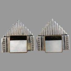 Ermani Bulatti, Vintage Art Deco Revival Costume Jewelry Large Pair of Clip-on Earrings.