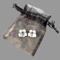 David-Andersen, Norway Vintage Sterling Silver Enamel Pansy Clip-on Earrings