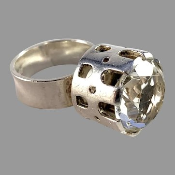 Arvo Saarela, Sweden 1967 Modernist Sterling Silver Rock Crystal Ring. Signed.