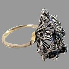 Vintage 1960-70s Bold 14k Gold 0.4ctw Diamond Sapphire Ring.