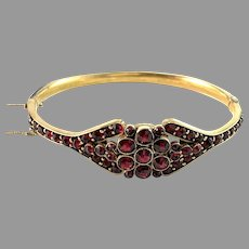 Antique Early 1900s Bohemian Garnet Gilt Metal Bracelet.