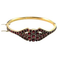 Antique Early 1900s Bohemian Garnet Gilt Metal Bracelet.