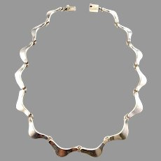 Taxco Mexico Vintage Sterling Silver Chunky Necklace.