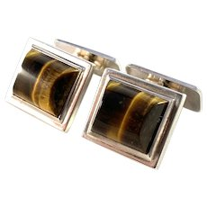 Vintage Mid Century Solid 830 Silver Tiger Eye Pair of Cufflinks.
