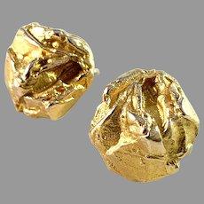 Björn Weckström, Lapponia, Finland 1971 Vintage 14k Gold Stud Earrings. Signed.