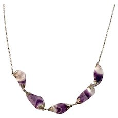 Germany / Austria 1930-40s Solid 835 Silver Amethyst Necklace.