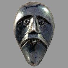 Maker SES, Finland Vintage Sterling Silver Face of Odin Viking Copy Pendant.