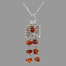 Fischland Ostseeschmuck, Germany 1960-70s 835 Silver Baltic Amber Necklace.