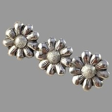 Victor Janson, Sweden 1945 Mid Century Solid Silver Flower Brooch