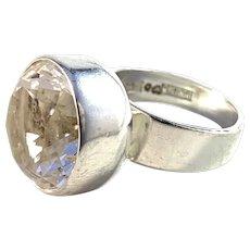Bengt Hallberg, Sweden 1971 Modernist Sterling Silver Rock Crystal Ring.