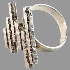 Gun Byström, Sweden c 1979 Modernist Sterling Silver Ring.