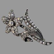 Maker J.P Austria /Germany 1940-50s Sterling 935 Silver Paste Stone Flower Brooch.