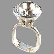 Bengt Hallberg, Sweden 1967 Sterling Silver Rock Crystal Ring.