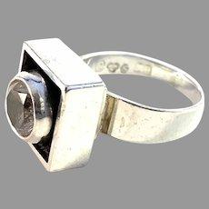 Alton, Sweden 1967 Modernist Sterling Silver Rock Crystal Ring.