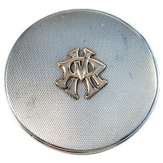 Maker SF Germany/Austria 1944 Heavy Solid 835 Silver Gold Detail Mirror Compact