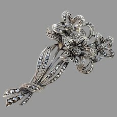 Mid Century Sterling Silver Marcasite Large Flower Brooch.