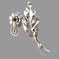 Pinco, Stockholm 1950 Vintage Mid Century Solid Silver Flower Brooch.